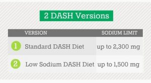 Two DASH diet versions.